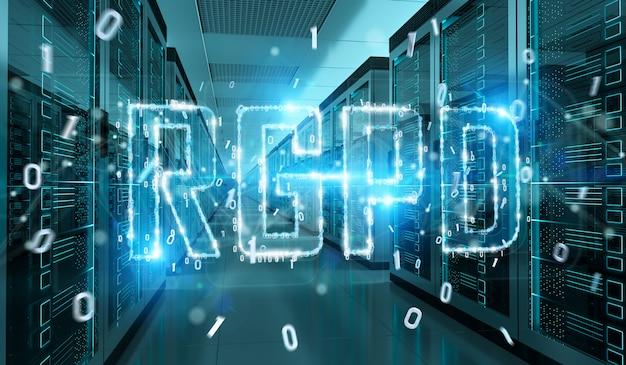 Цифровой интерфейс gdpr в серверной комнате 3d-рендеринга