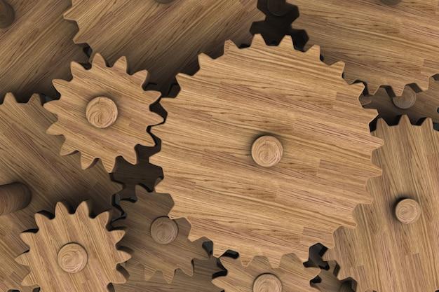 The gear mechanism close-up. wooden gears