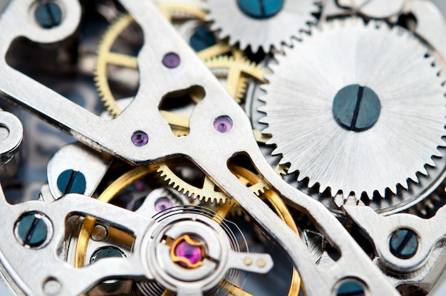 Gear mechanism of wrist watches, close-up.