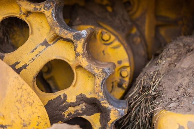 Gear metal part of the tractor caterpillar