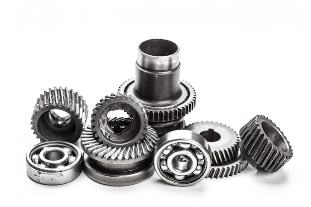 Gear metal wheels, isolated on white background