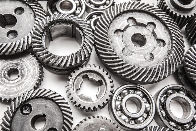 Gear metal wheels, isolated on white