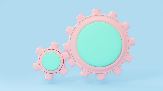 Gear pink and green pastel color middle area enter for your text on blue background. clipping path. 3d render.