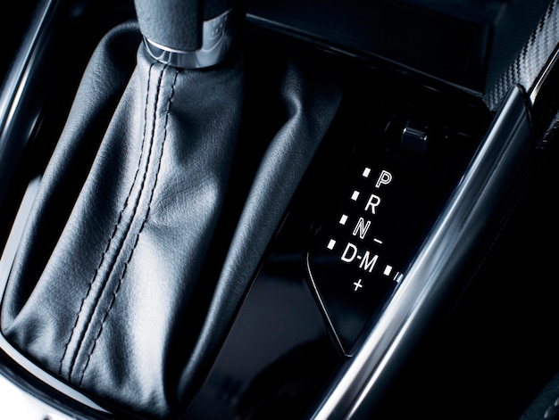 Gear position symbol with manual mode shifting on automatic transmission in a luxury car.
