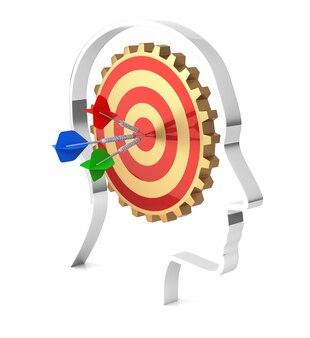 Gear wheels target inside human head 3d rendering