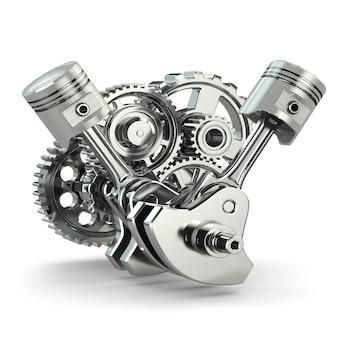 Шестерни и поршни двигателя на белом изолированном фоне 3d