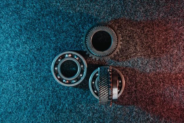 Gears and bearings on dark