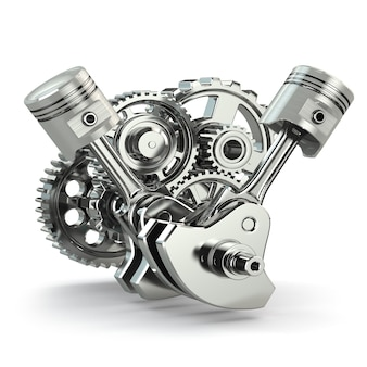 Gears and engine pistons on white isolated background 3d