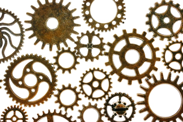 흰색 배경에 고립 된 기어 steampunk 세부 정보입니다. 시계 세부 정보. 기어. 시간 및 이벤트 개념입니다. 시간 기호입니다. 고품질 사진