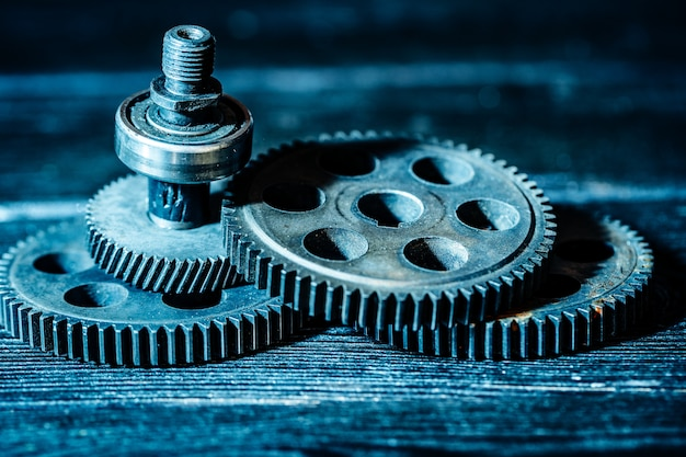 Gears, machine part, neon color,
