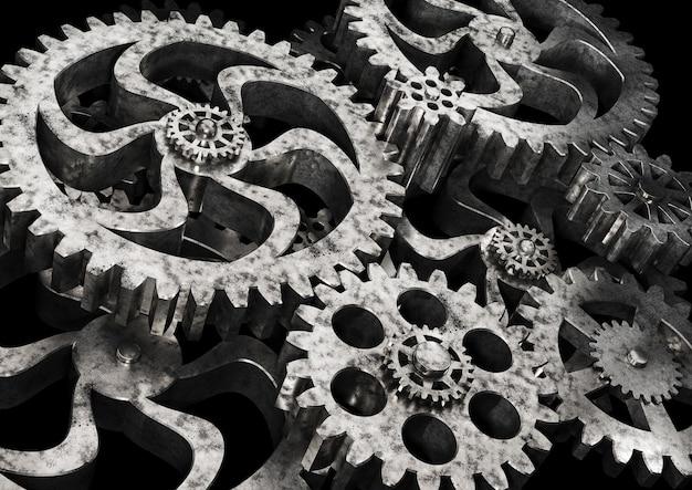 Gears wheels from rusty metal on black