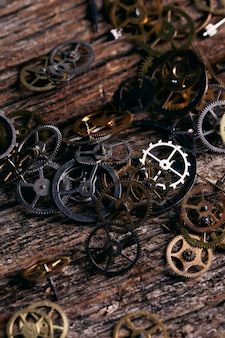Gears on wooden table