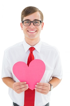 Geeky hipster holding heart card