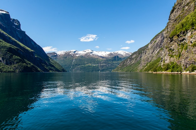 Geirangerfjord beautiful landscape of montains and fjord in norway