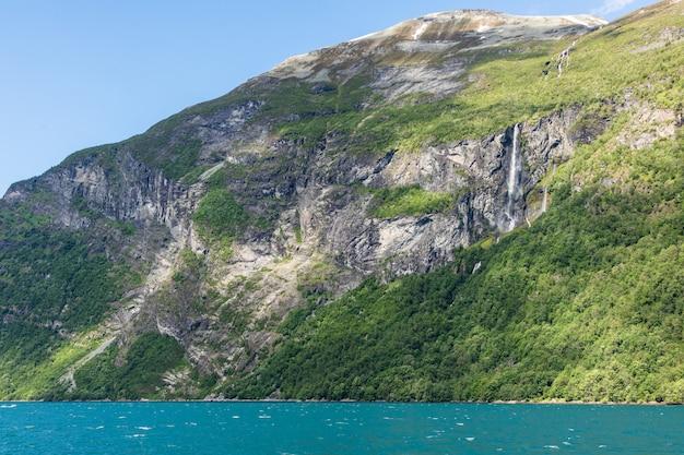 ガイランゲルフィヨルドの山とノルウェーのフィヨルドの美しい風景