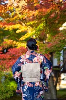 Geishas girl wearing japanese kimono among red wooden tori gate at fushimi inari shrine in kyoto,
