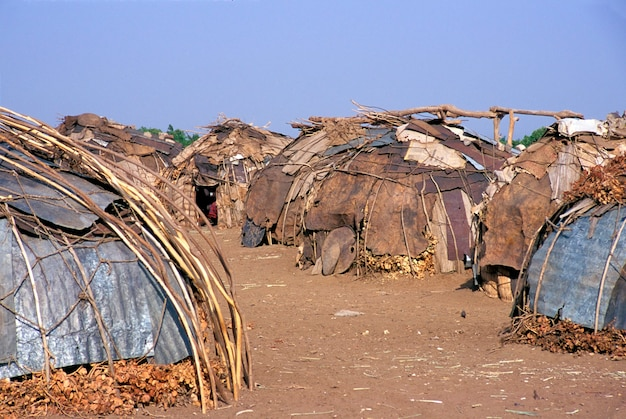 Geleb tribe huts in ethiopian omo river region