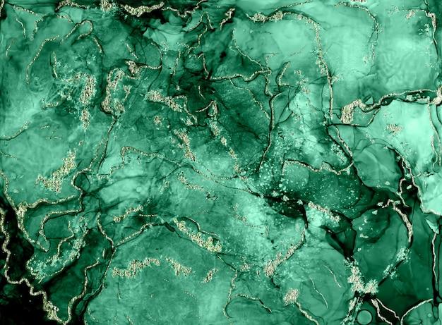 Драгоценный камень малахит. тушь, краска, абстракция. абстрактные спиртовые чернила современная абстрактная живопись, современное современное искусство. иллюстрация ручной работы.