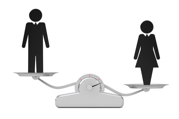 男女共同参画の概念。白地にシンプルな体重計の黒人男性と女性のアイコン。 3dレンダリング