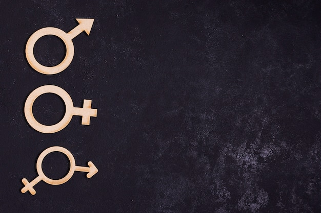 Gender equality concept icons with copy space