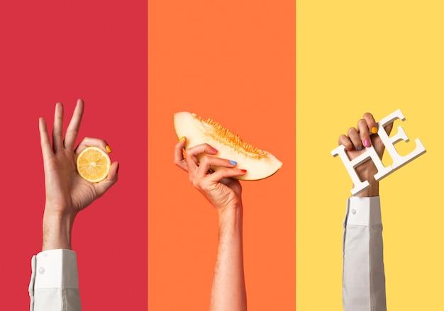 Gente fluida mani sui colori dell'arcobaleno
