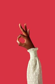 빨간색에 고립 된 성별 유체 사람 손