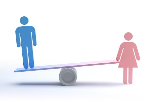 Концепция гендерного неравенства, феминизма и дискриминации. 3d рендеринг