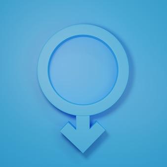Гендерные символы с головами мужчин 3d-рендеринга иллюстрации