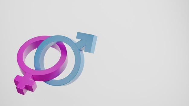 男性と女性の世界の性の健康の日の概念3dレンダリングの頭を持つ性別記号