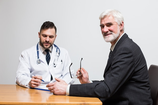 General pressure arm patient glasses pensioner