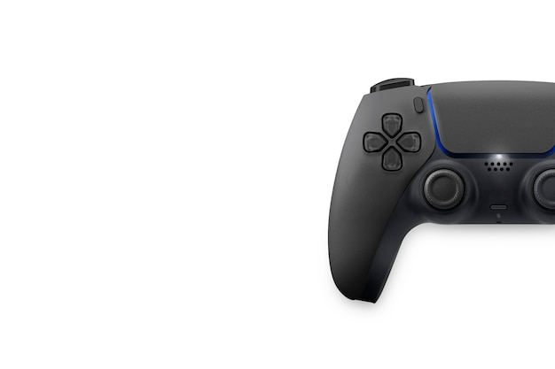 Next generation black game controller isolated on white background. top view.