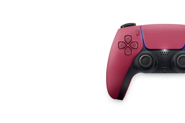 Next generation red game controller isolated on white background. top view.