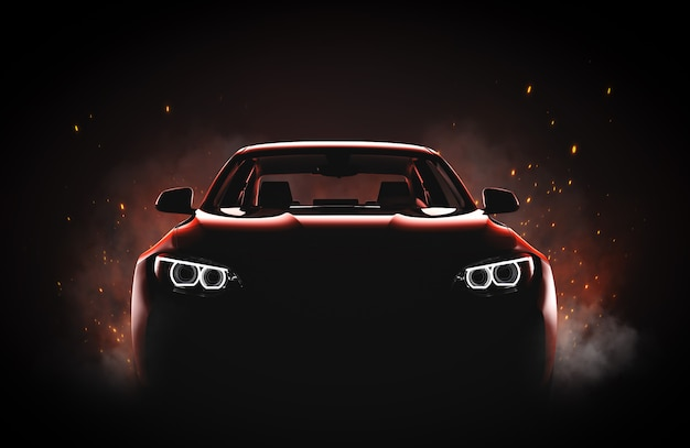 Generic and brandless modern sport car with fire and smoke