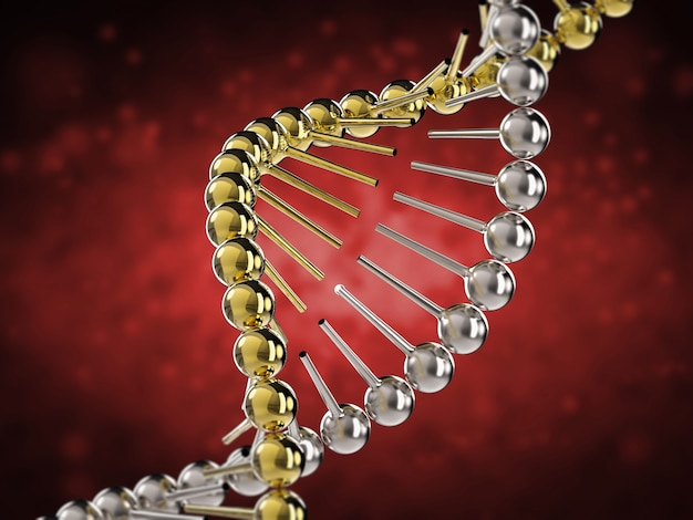 3d 렌더링 dna 나선 및 dna의 일부를 사용한 유전 공학 개념