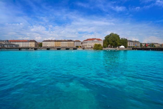 Geneva geneve at leman lake in switzerland