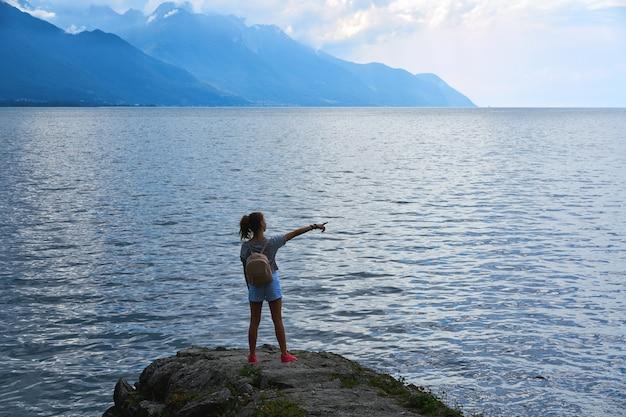 Geneve lake leman geneva backpack tourist girl