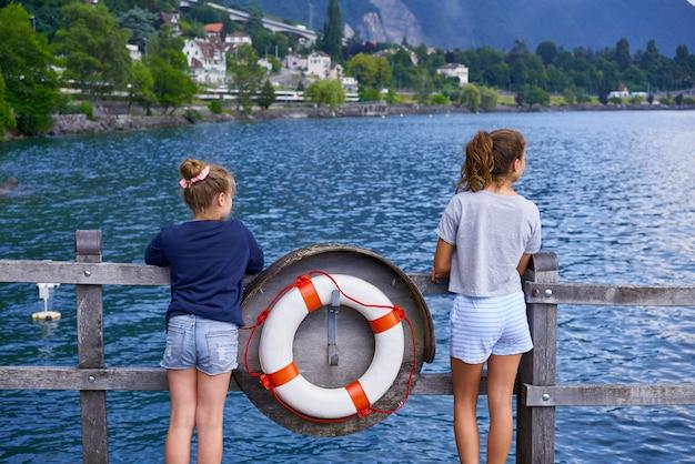 Geneve lake leman kid girl friends lifebuoy swiss