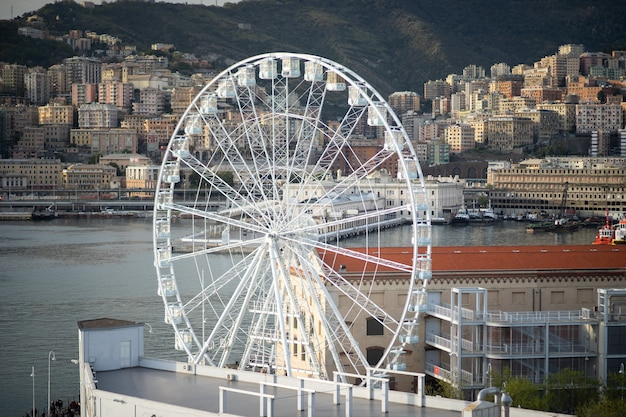 Genoa at the ancient port the ferris wheel view from the air.