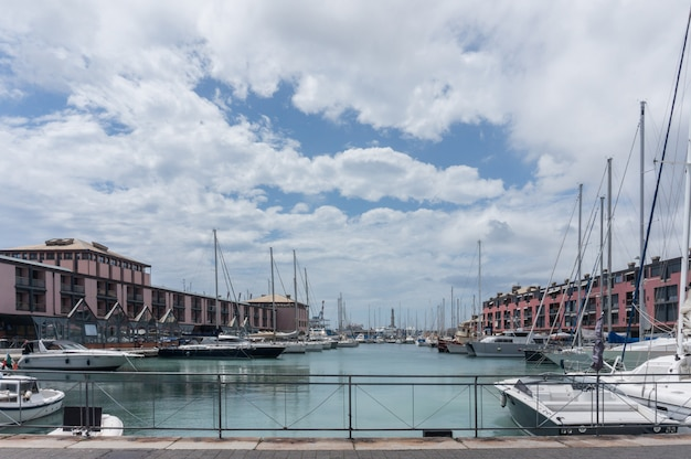 Genoa, italy. the harbor and the business center.