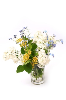흰색 배경 봄 구성에 고립 된 봄 꽃의 부드러운 꽃다발