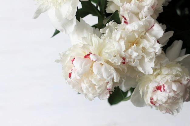 Gentle bouquet of peonies on light wood