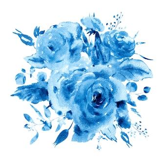 ラプリマスタイルの穏やかな水彩花柄グリーティングカード。赤、黄色、水彩のバラ-花、小枝、葉、芽。