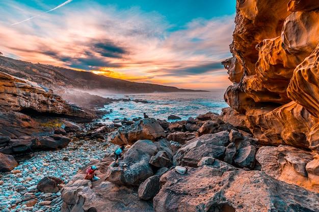 Geoforms of the beautiful coast of mount jaizkibel near san sebastian