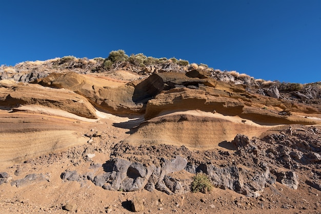 Geological detail of lava walls in teide national park, tenerife, canary island, spain.