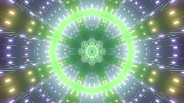 Geometric 3d illustration of round futuristic tunnel illuminated with bright colorful neon lamps