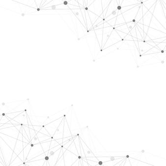 接続された線と点を持つ幾何学的な抽象的な背景。プレゼンテーションのネットワークと接続の背景。グラフィック多角形の背景。科学イラスト、ラスターイラスト。