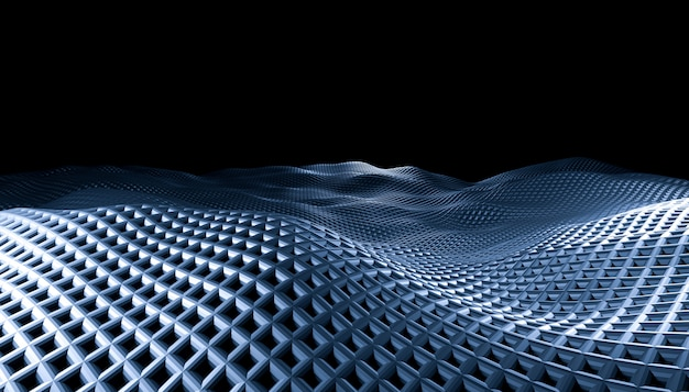 Geometric abstract grid waves on a black background.