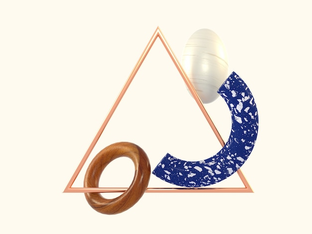 Geometric abstract shape blue marble wood triangle copper frame 3d rendering