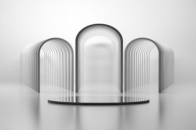 반복되는 둥근 프레임과 거울 받침대로 만들어진 아치가있는 기하학적 건축 구성. 3d 그림.