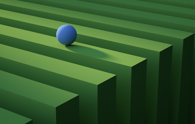 Geometric blue sphere rolling over a green stripe abstract background concept render